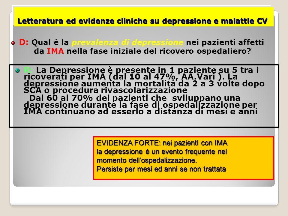 Letteratura ed evidenze cliniche su depressione e malattie CV