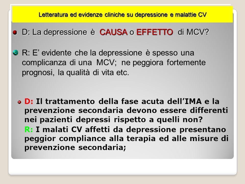D: La depressione è CAUSA o EFFETTO di MCV