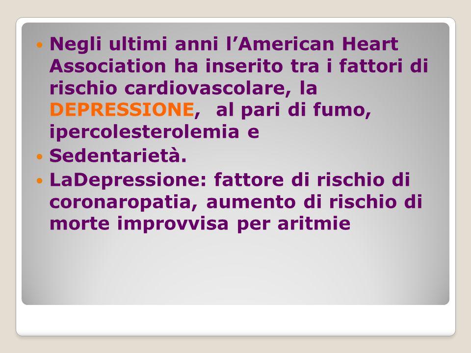 Negli ultimi anni l'American Heart Association ha inserito tra i fattori di rischio cardiovascolare, la DEPRESSIONE, al pari di fumo, ipercolesterolemia e