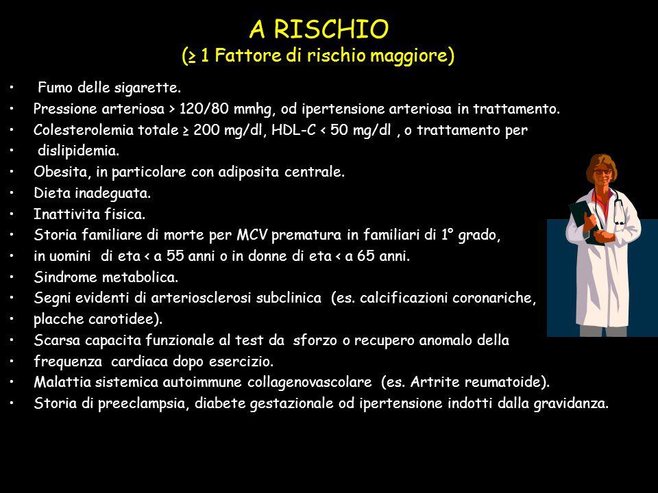 A RISCHIO (≥ 1 Fattore di rischio maggiore)