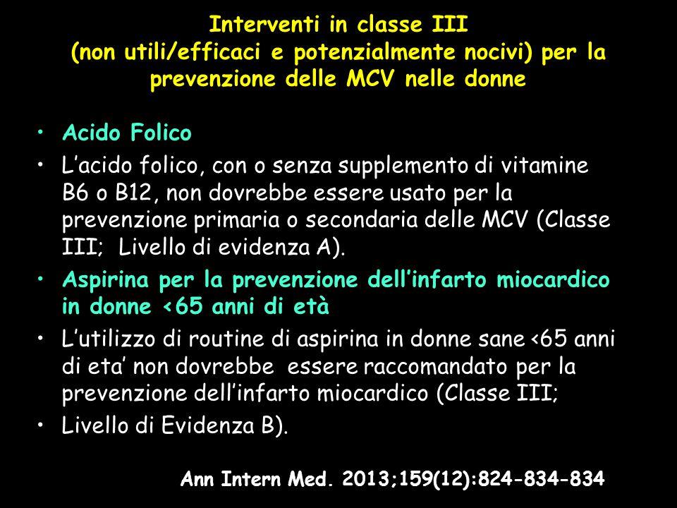 Interventi in classe III (non utili/efficaci e potenzialmente nocivi) per la prevenzione delle MCV nelle donne