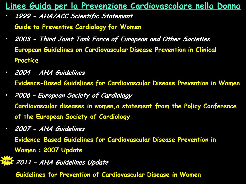 Linee Guida per la Prevenzione Cardiovascolare nella Donna