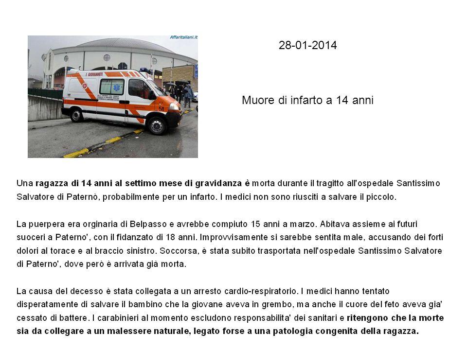 28-01-2014 Muore di infarto a 14 anni