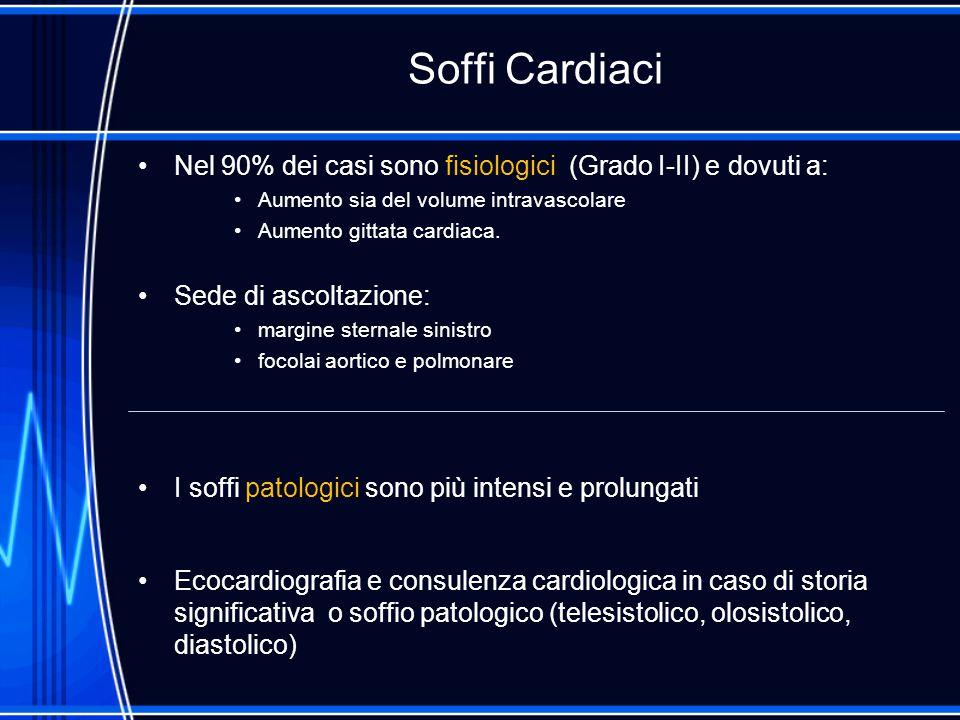 Soffi Cardiaci Nel 90% dei casi sono fisiologici (Grado I-II) e dovuti a: Aumento sia del volume intravascolare.
