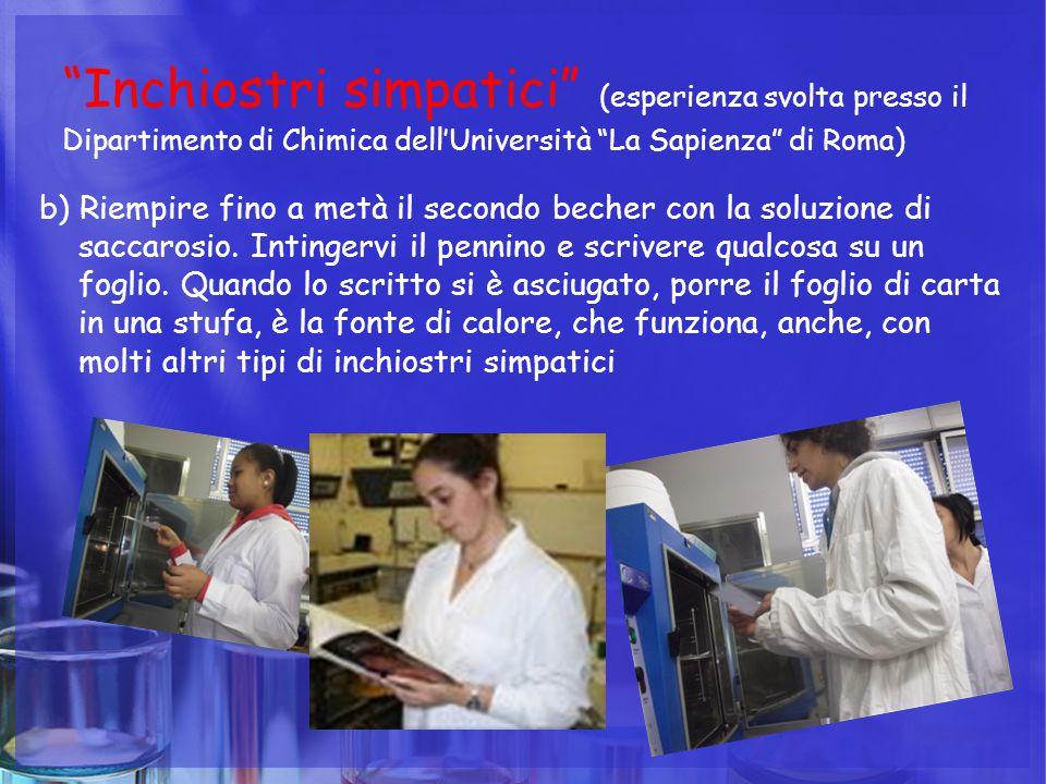 Inchiostri simpatici (esperienza svolta presso il Dipartimento di Chimica dell'Università La Sapienza di Roma)