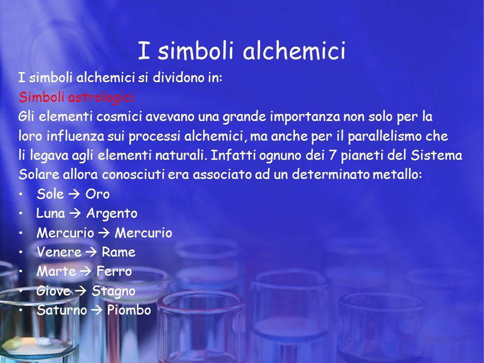 I simboli alchemici I simboli alchemici si dividono in: