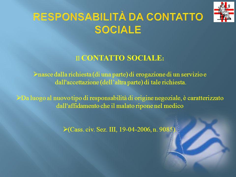 RESPONSABILITÀ DA CONTATTO SOCIALE