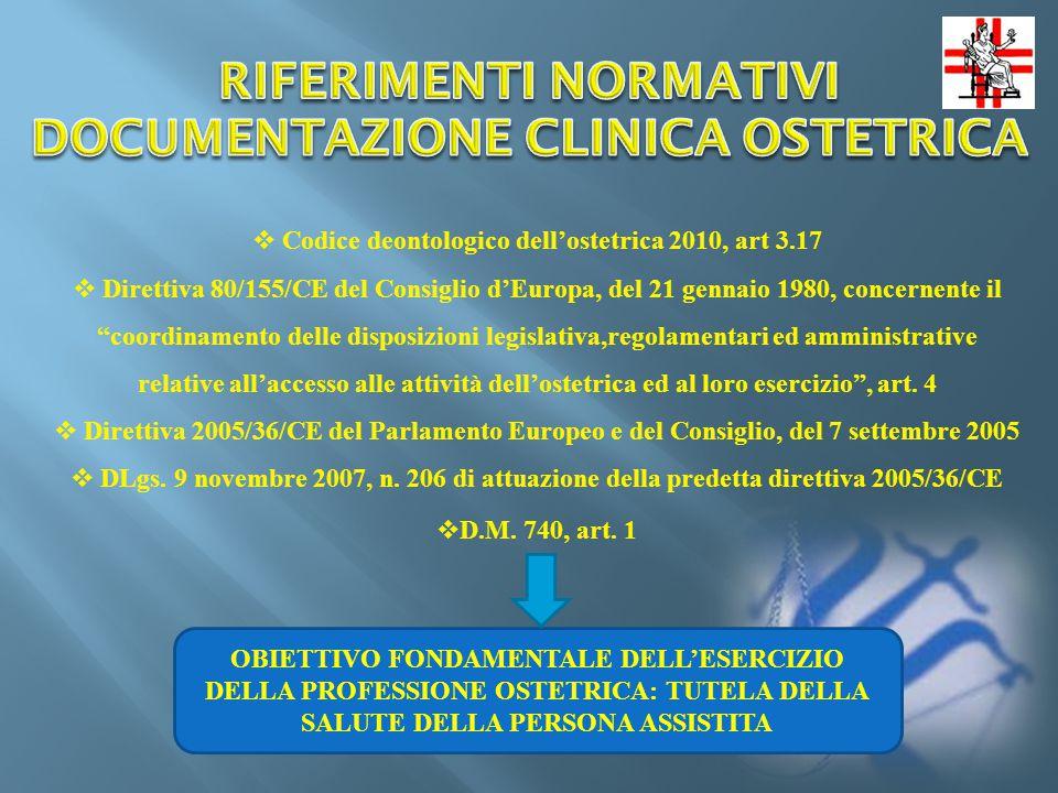 RIFERIMENTI NORMATIVI DOCUMENTAZIONE CLINICA OSTETRICA