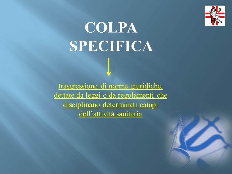 COLPA SPECIFICA trasgressione di norme giuridiche, dettate da leggi o da regolamenti che disciplinano determinati campi dell'attività sanitaria.