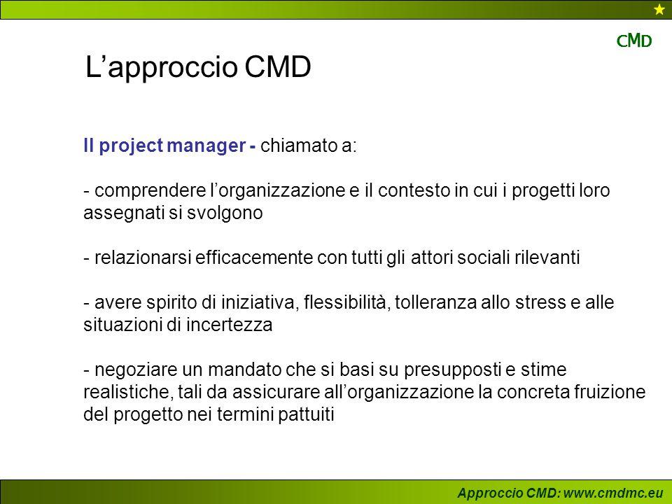 L'approccio CMD Il project manager - chiamato a:
