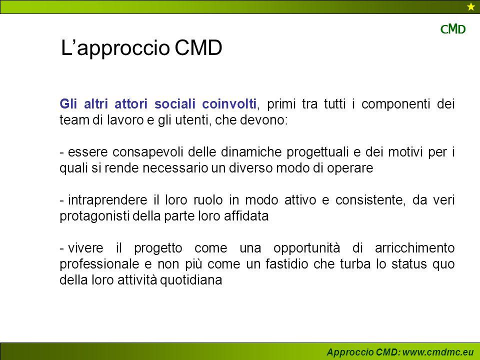L'approccio CMD Gli altri attori sociali coinvolti, primi tra tutti i componenti dei team di lavoro e gli utenti, che devono: