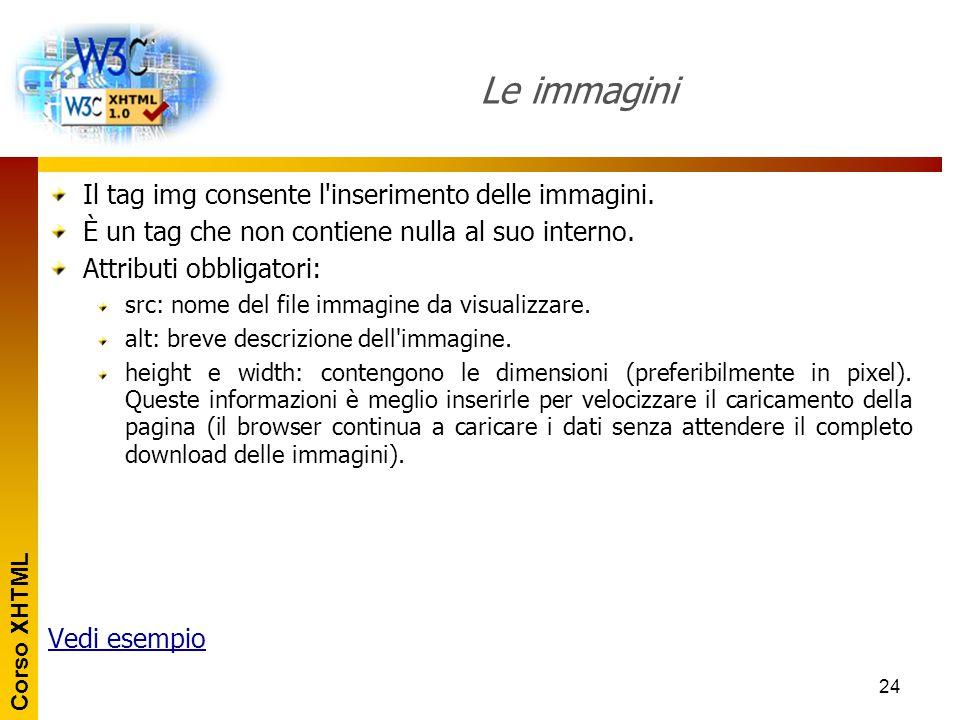 Le immagini Il tag img consente l inserimento delle immagini.