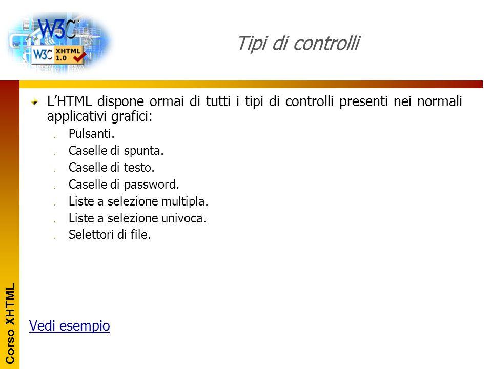 Tipi di controlli L'HTML dispone ormai di tutti i tipi di controlli presenti nei normali applicativi grafici: