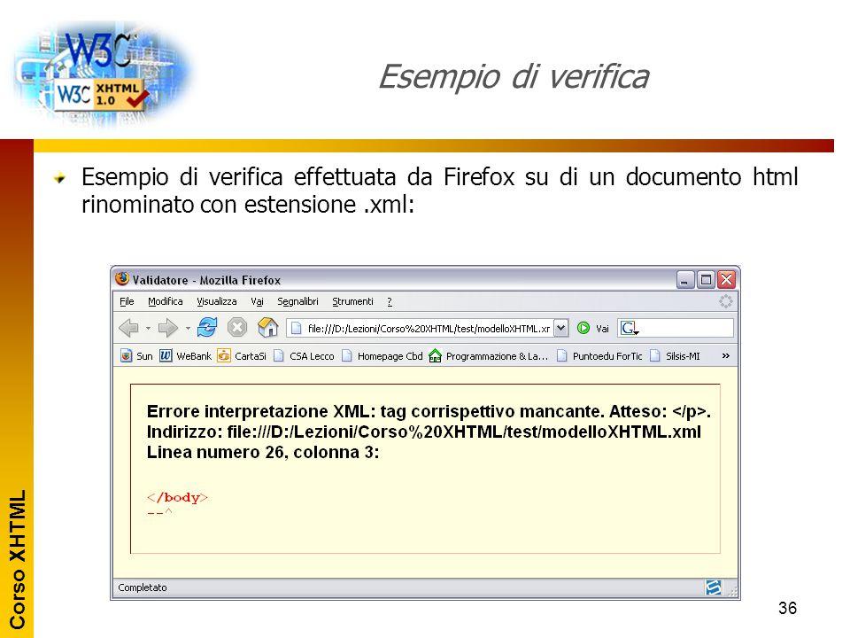 Esempio di verifica Esempio di verifica effettuata da Firefox su di un documento html rinominato con estensione .xml: