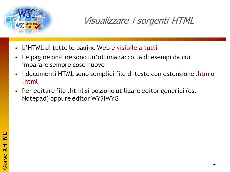 Visualizzare i sorgenti HTML