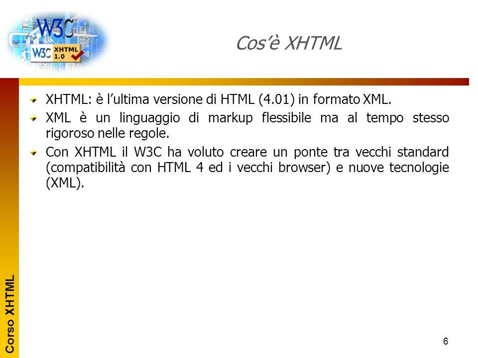 Cos'è XHTML XHTML: è l'ultima versione di HTML (4.01) in formato XML.