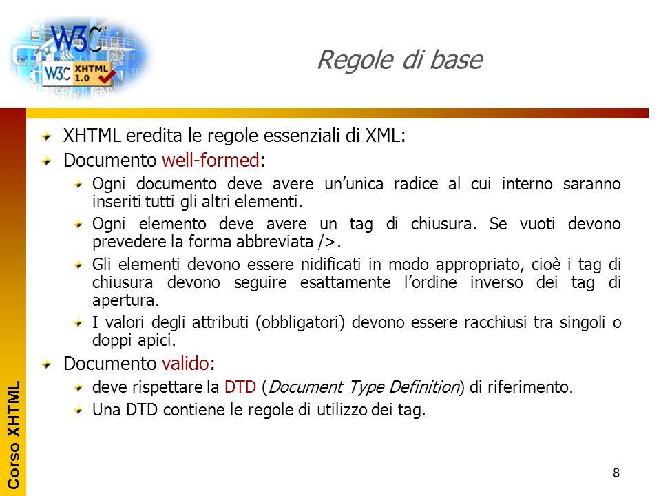 Regole di base XHTML eredita le regole essenziali di XML: