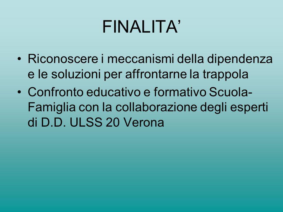 FINALITA' Riconoscere i meccanismi della dipendenza e le soluzioni per affrontarne la trappola.