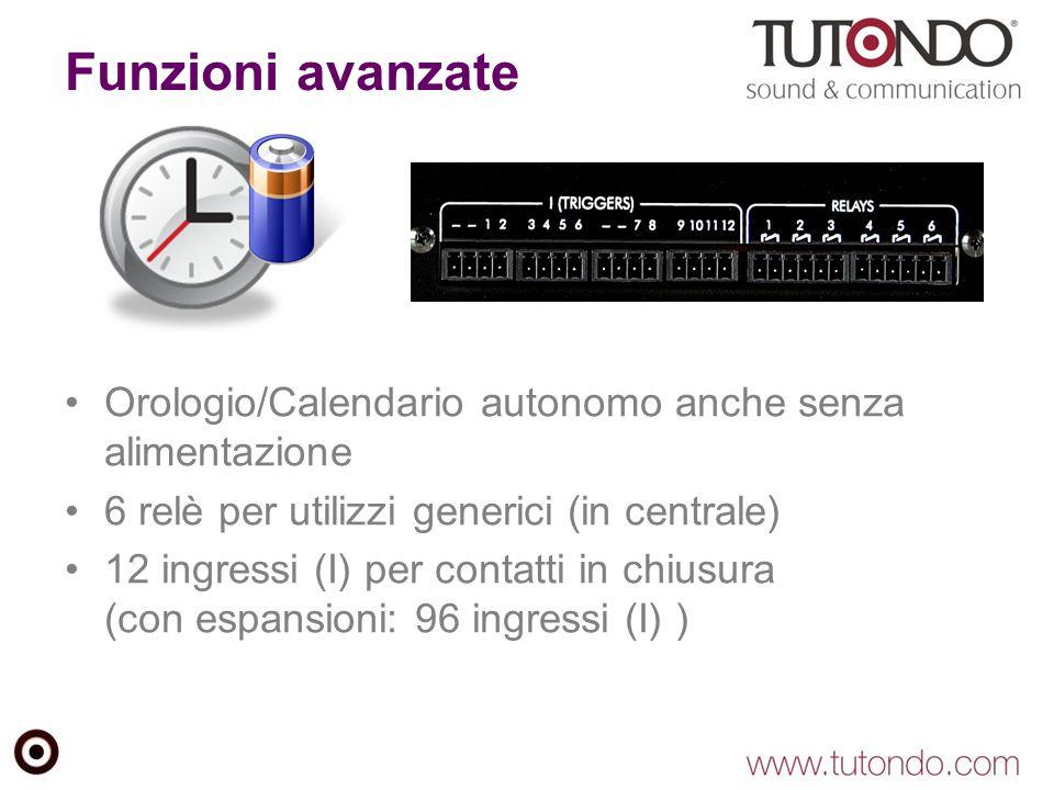 Funzioni avanzate Orologio/Calendario autonomo anche senza alimentazione. 6 relè per utilizzi generici (in centrale)