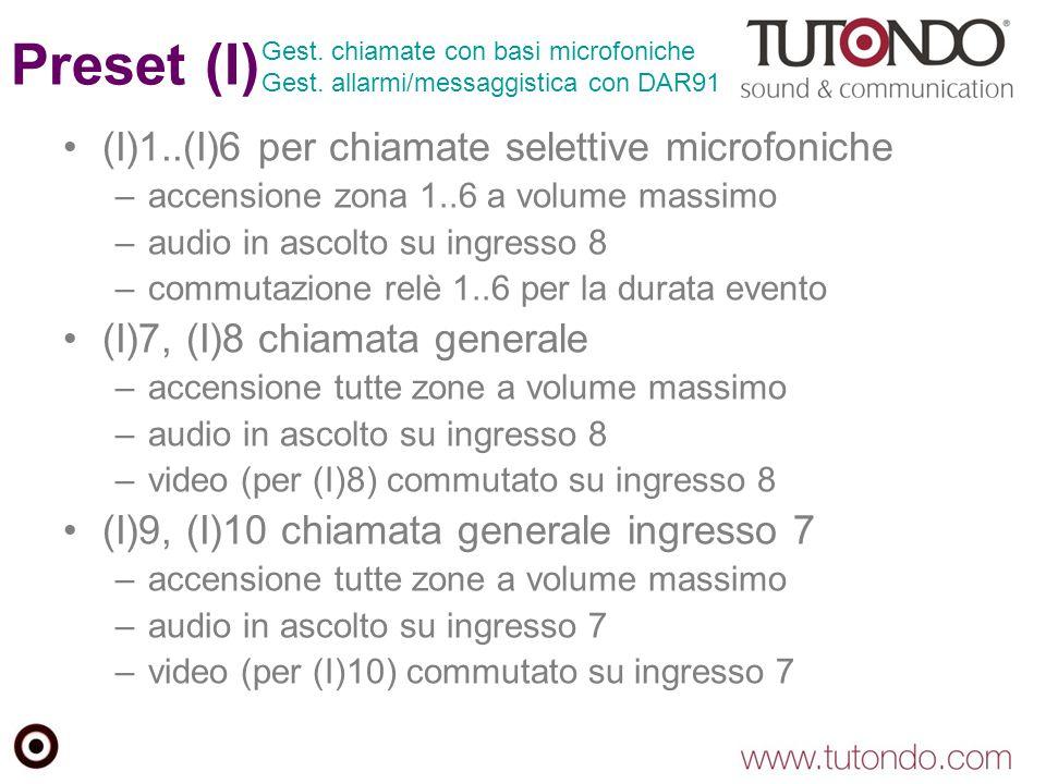 Preset (I) (I)1..(I)6 per chiamate selettive microfoniche