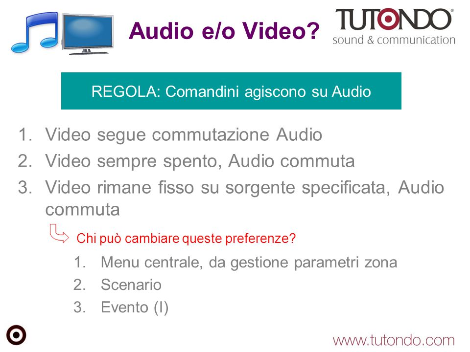 Audio e/o Video Video segue commutazione Audio