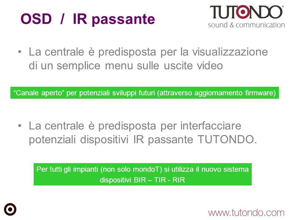 OSD / IR passante La centrale è predisposta per la visualizzazione di un semplice menu sulle uscite video.