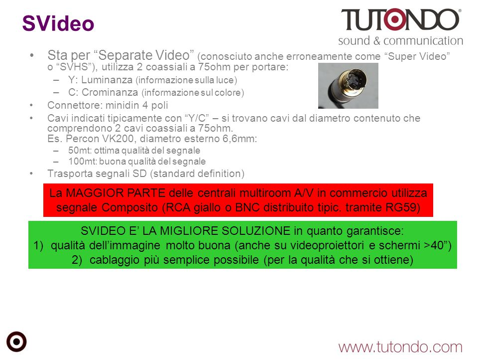 SVideo Sta per Separate Video (conosciuto anche erroneamente come Super Video o SVHS ), utilizza 2 coassiali a 75ohm per portare: