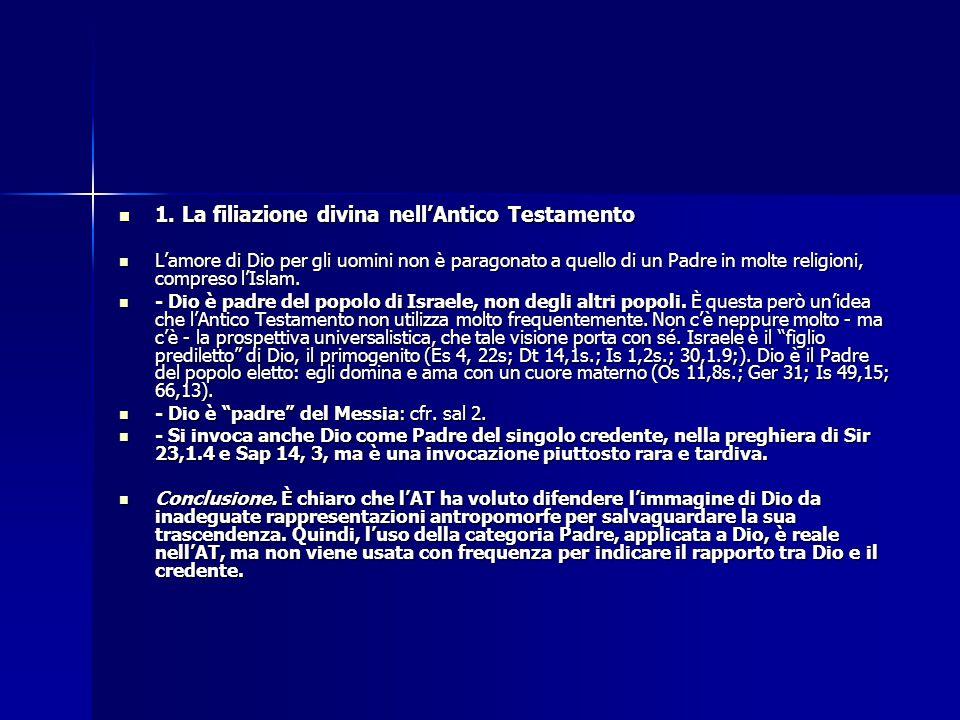 1. La filiazione divina nell'Antico Testamento