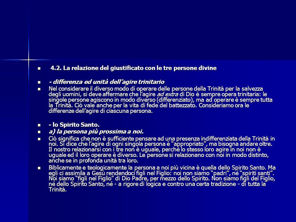 4.2. La relazione del giustificato con le tre persone divine