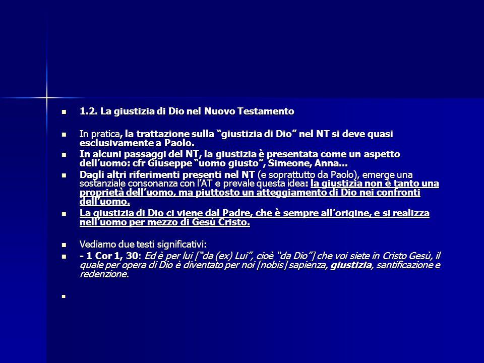 1.2. La giustizia di Dio nel Nuovo Testamento