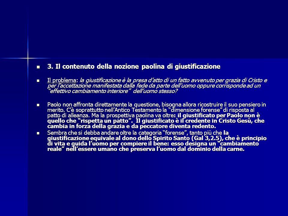 3. Il contenuto della nozione paolina di giustificazione