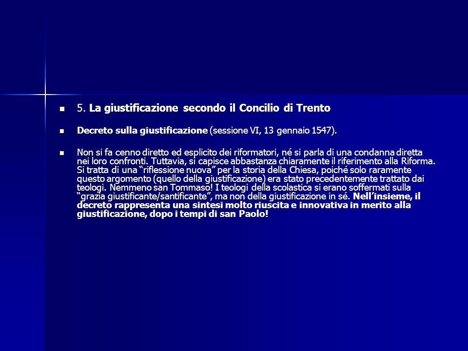 5. La giustificazione secondo il Concilio di Trento