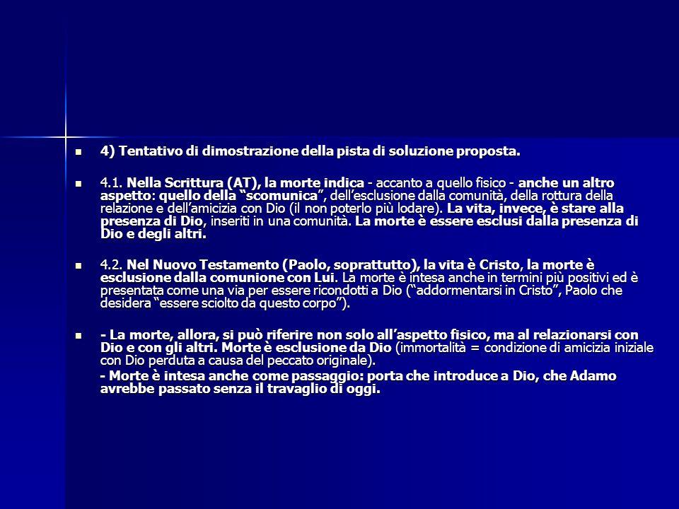 4) Tentativo di dimostrazione della pista di soluzione proposta.