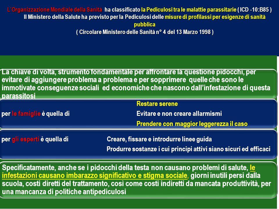 L'Organizzazione Mondiale della Sanità ha classificato la Pediculosi tra le malattie parassitarie ( ICD -10:B85 ) Il Ministero della Salute ha previsto per la Pediculosi delle misure di profilassi per esigenze di sanità pubblica ( Circolare Ministero delle Sanità n° 4 del 13 Marzo 1998 )