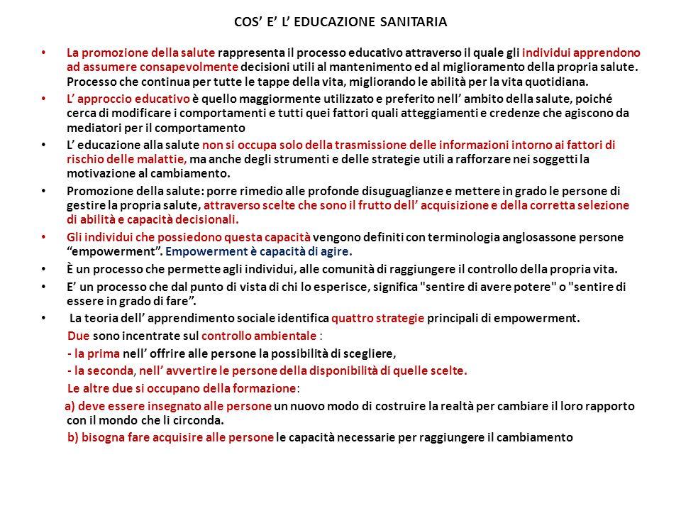 COS' E' L' EDUCAZIONE SANITARIA