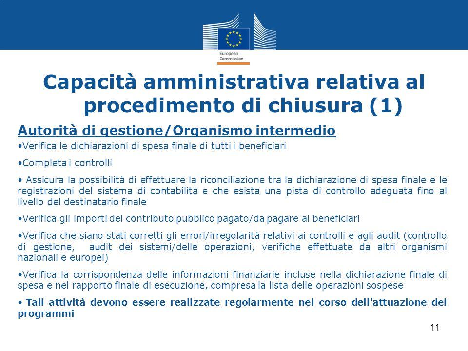 Capacità amministrativa relativa al procedimento di chiusura (1)