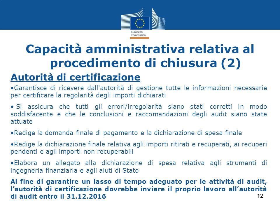 Capacità amministrativa relativa al procedimento di chiusura (2)