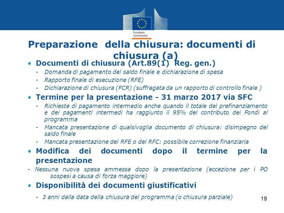 Preparazione della chiusura: documenti di chiusura (a)