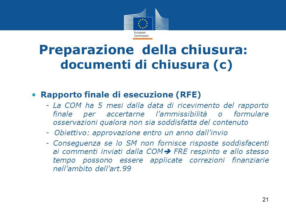 Preparazione della chiusura: documenti di chiusura (c)