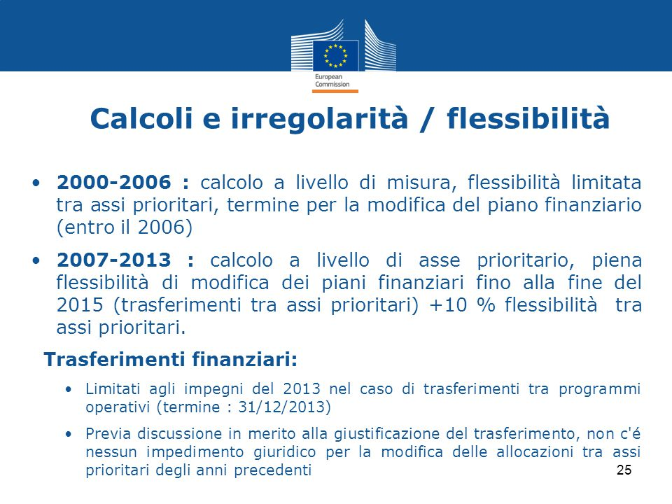 Calcoli e irregolarità / flessibilità
