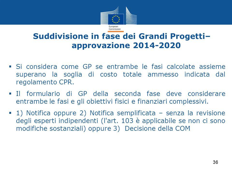 Suddivisione in fase dei Grandi Progetti– approvazione 2014-2020
