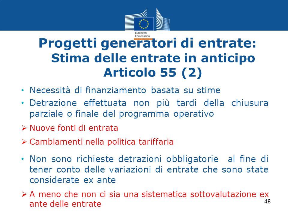 Progetti generatori di entrate: Stima delle entrate in anticipo Articolo 55 (2)