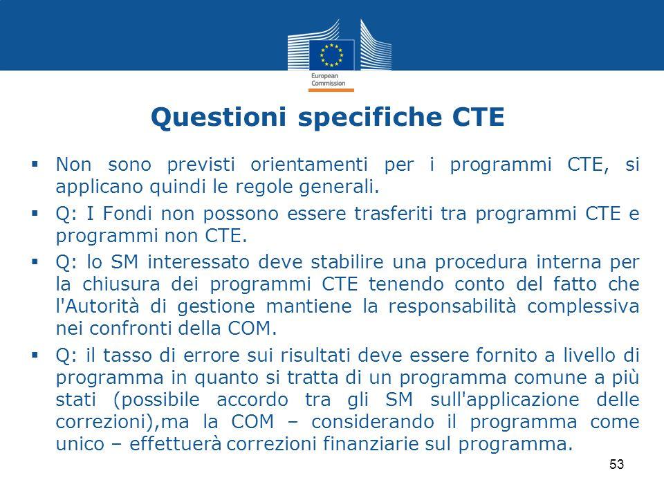 Questioni specifiche CTE
