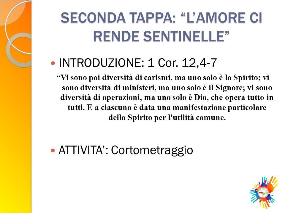 SECONDA TAPPA: L'AMORE CI RENDE SENTINELLE