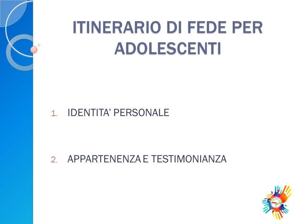 ITINERARIO DI FEDE PER ADOLESCENTI