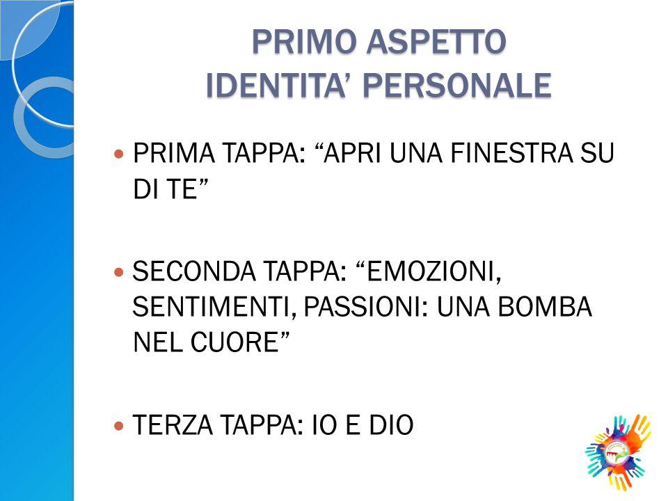 PRIMO ASPETTO IDENTITA' PERSONALE
