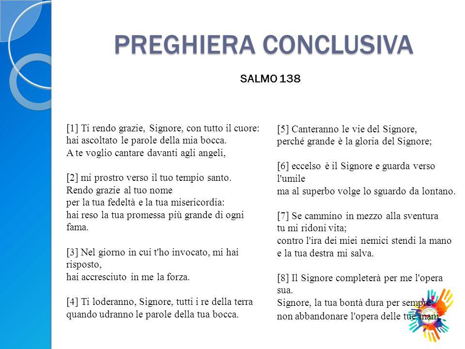 PREGHIERA CONCLUSIVA SALMO 138