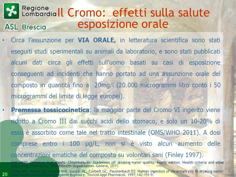 Il Cromo: effetti sulla salute esposizione orale