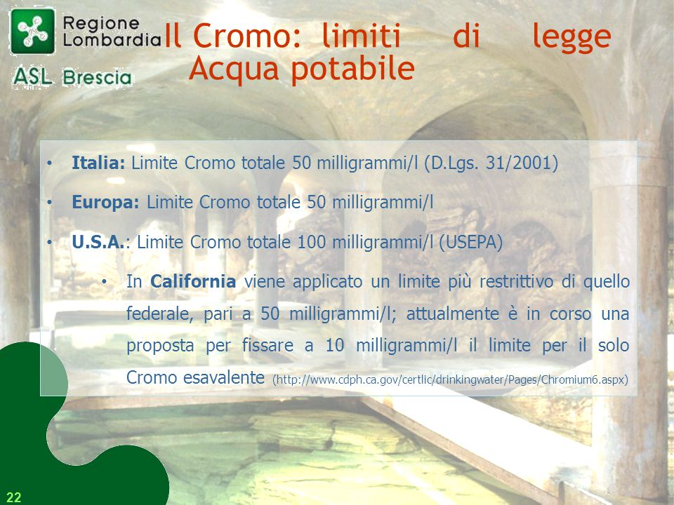 Il Cromo: limiti di legge Acqua potabile