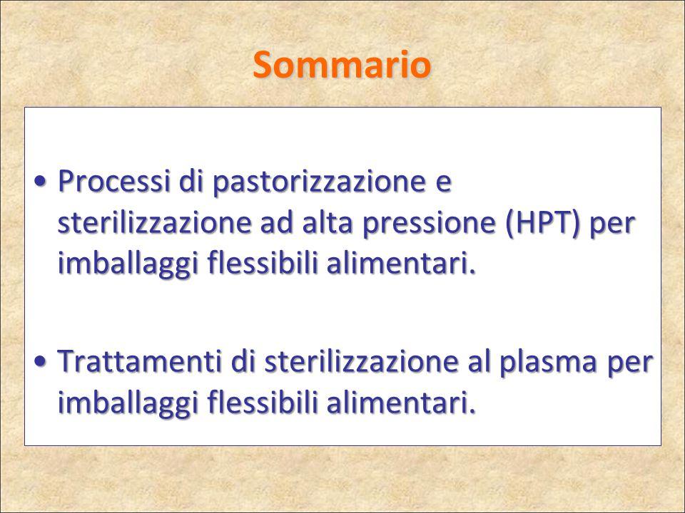 Sommario Processi di pastorizzazione e sterilizzazione ad alta pressione (HPT) per imballaggi flessibili alimentari.